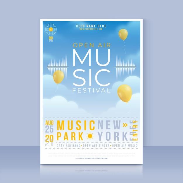Open air musikfestival poster vorlage Premium Vektoren