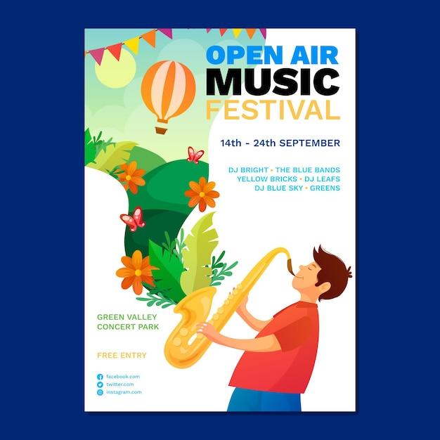 Open air musikfestival poster Kostenlosen Vektoren