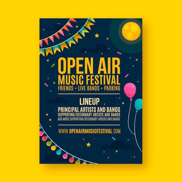 Open air party poster konzept Premium Vektoren