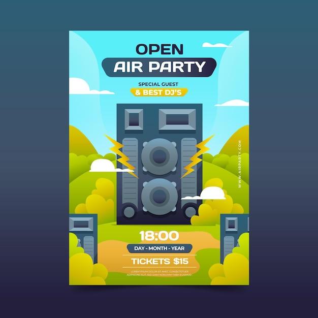 Open air party poster konzept Kostenlosen Vektoren