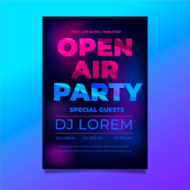 Open air party poster vorlage Kostenlosen Vektoren