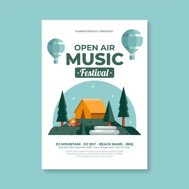 Open air party poster vorlage Kostenlosen Vektoren