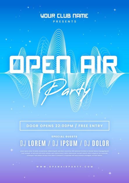 Open air party poster vorlage Premium Vektoren