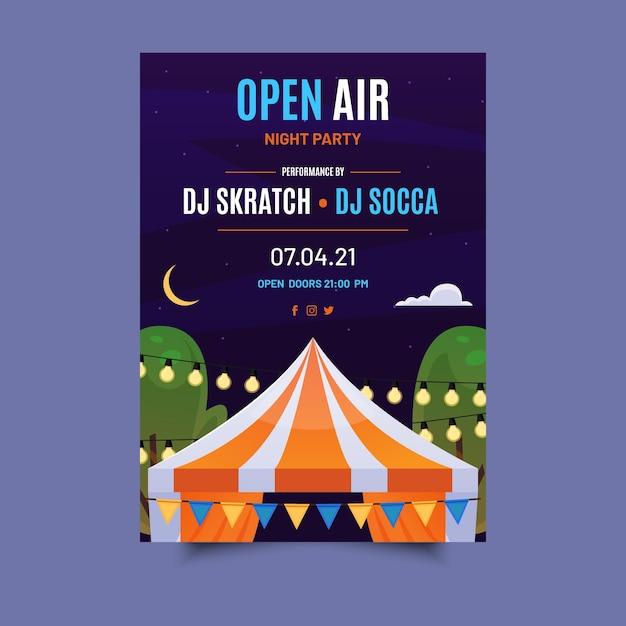 Open air party poster Kostenlosen Vektoren
