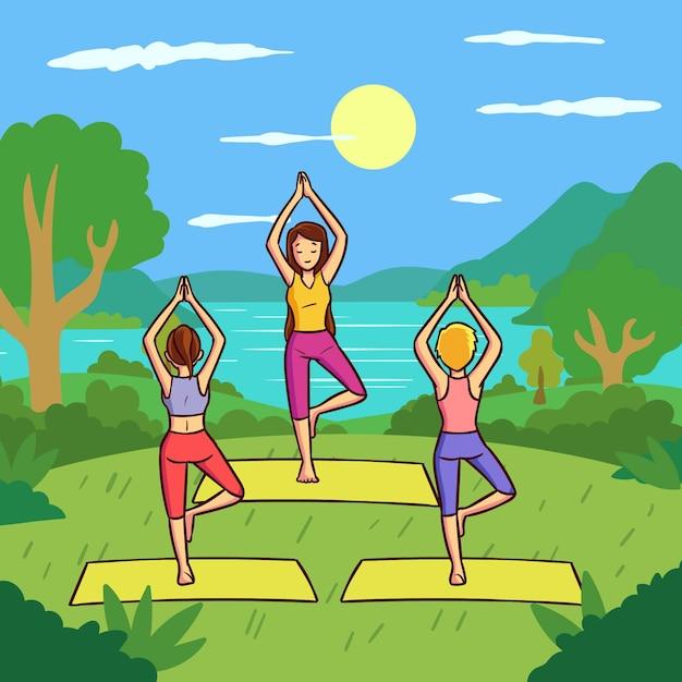 Open air yoga-kurs mit flachem design Kostenlosen Vektoren