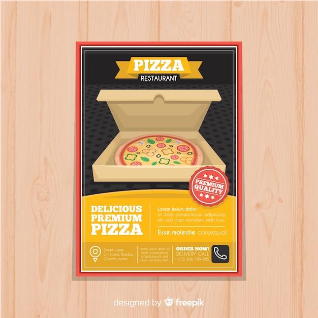 Open-box-pizza-flyer-vorlage Kostenlosen Vektoren