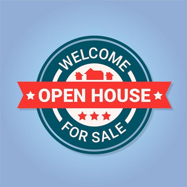 Open house label konzept Kostenlosen Vektoren
