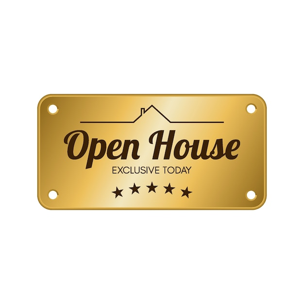 Open house label Kostenlosen Vektoren