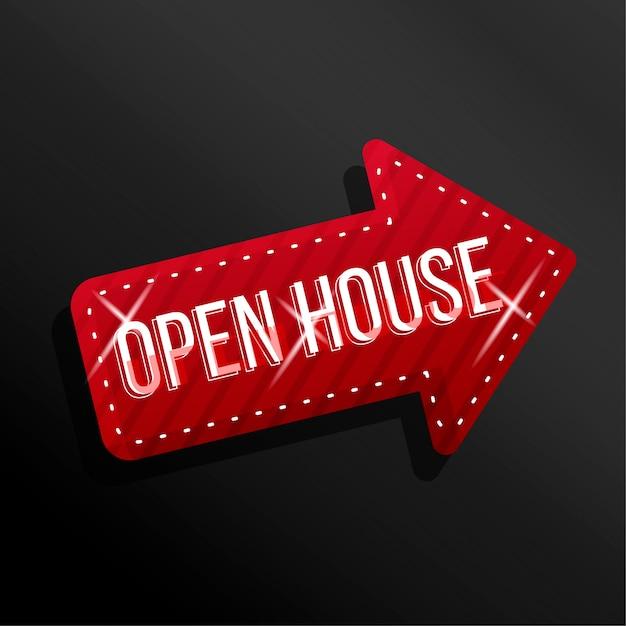 Open house pfeiletikett mit funkeln Premium Vektoren