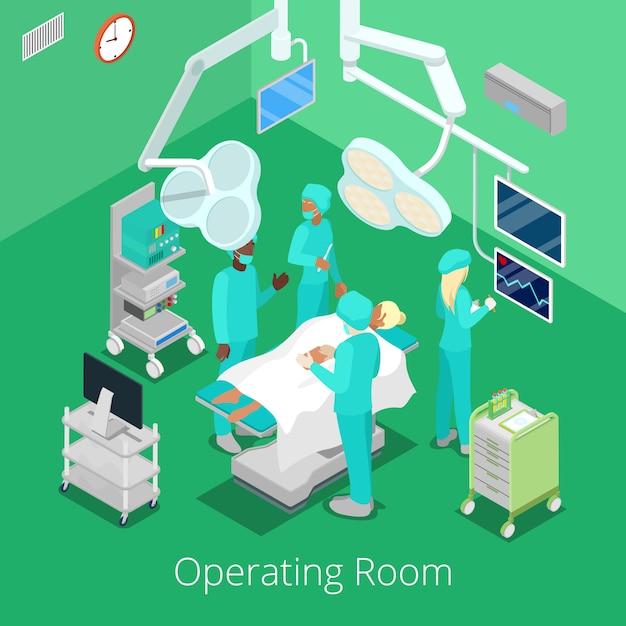 Operationssaal für isometrische chirurgie mit ärzten im operationsprozess. Premium Vektoren