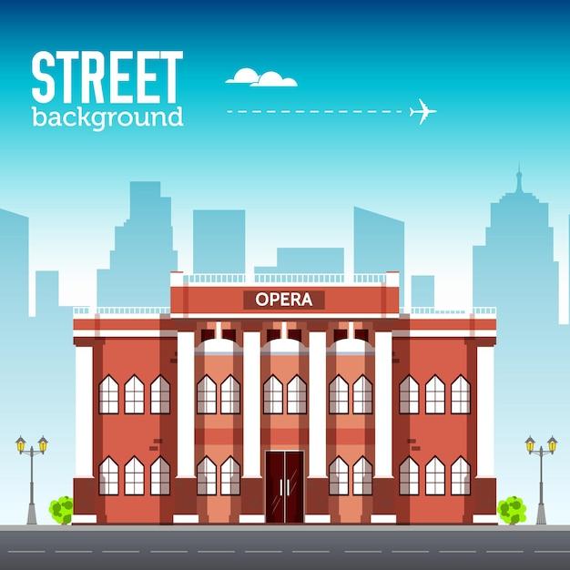 Operngebäude im stadtraum mit straße auf stilhintergrundkonzept. illustration Premium Vektoren