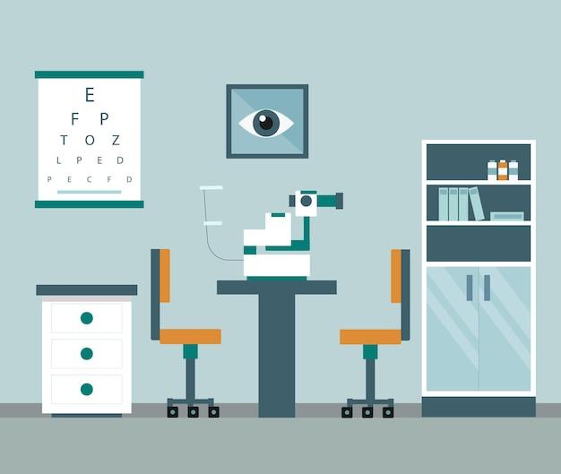 Ophthalmologie-schrank und ausrüstung zur untersuchung des sehvermögens des patienten Premium Vektoren