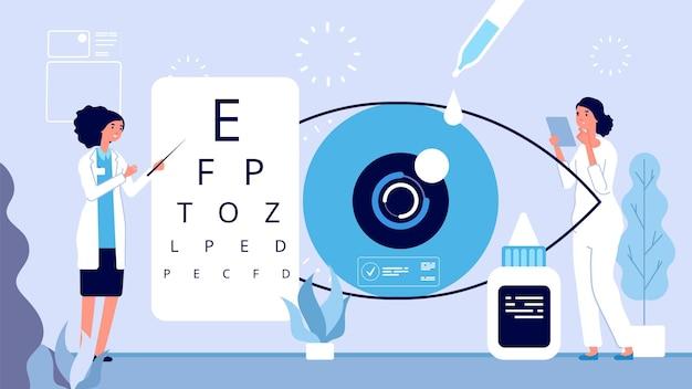 Ophthalmologische illustration. der augenarzt überprüft das vektorkonzept. optischer augentest der augenärztin. ophthalmologieklinik vektorillustration. medizinisches sehen im krankenhaus, ophthalmologische behandlung Premium Vektoren
