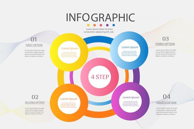 Optionen der geschäftsschablone 4 oder infographic diagrammelement der schritte. Premium Vektoren