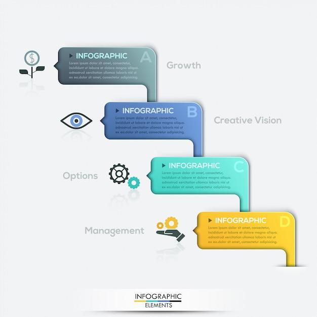 Optionen für moderne papierinfografiken Premium Vektoren