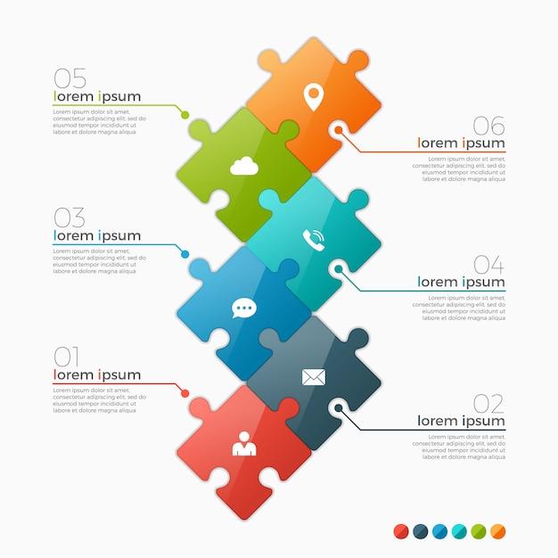 Optionen infographik vorlage mit puzzle-abschnitten Premium Vektoren