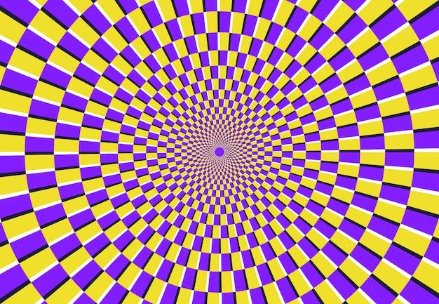 Optische spiralillusion. magisches psychedelisches muster, wirbelillusionen und hypnotische abstrakte hintergrundvektorillustration Premium Vektoren