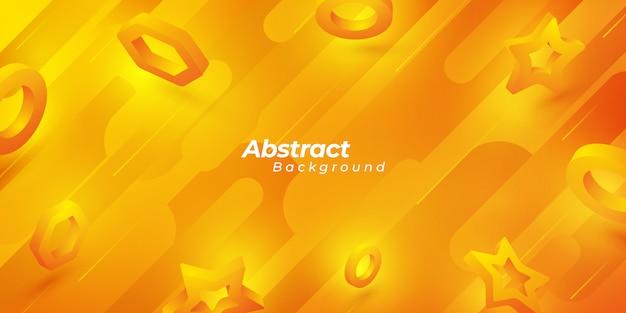 Orange abstrakter hintergrund mit formen 3d. Premium Vektoren