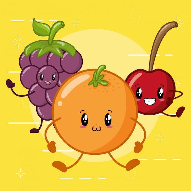 Orange, apfel und traube, die in der kawaaii art lächeln Kostenlosen Vektoren
