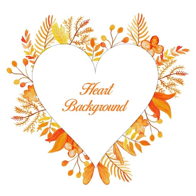Orange Blumen Herz Rahmen Hintergrund | Download der Premium Vektor