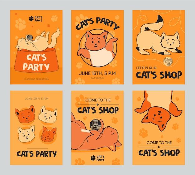 Orange broschüre vorlage set mit lustigen kätzchen für shop oder party. verspielte katzen, die mit clew spielen. Kostenlosen Vektoren
