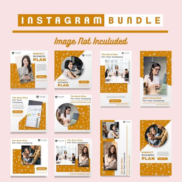 Orange business instagram post vorlagen Premium Vektoren