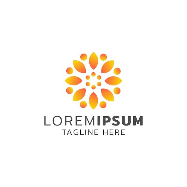 Orange farbe des sonnenblumenlogodesigns Premium Vektoren