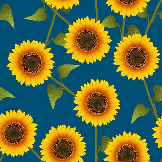 Orange gelbe sonnenblume auf indigo blue background Premium Vektoren
