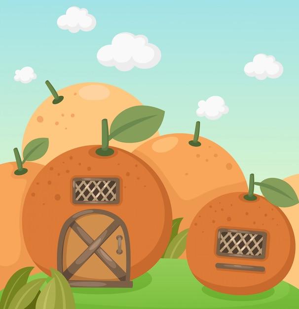 Orange haus Premium Vektoren