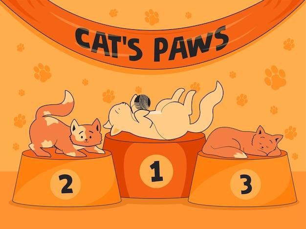 Orange hintergrund mit lustigen katzen auf podien. katzenpfotenplätze für niedliche kätzchen. Kostenlosen Vektoren