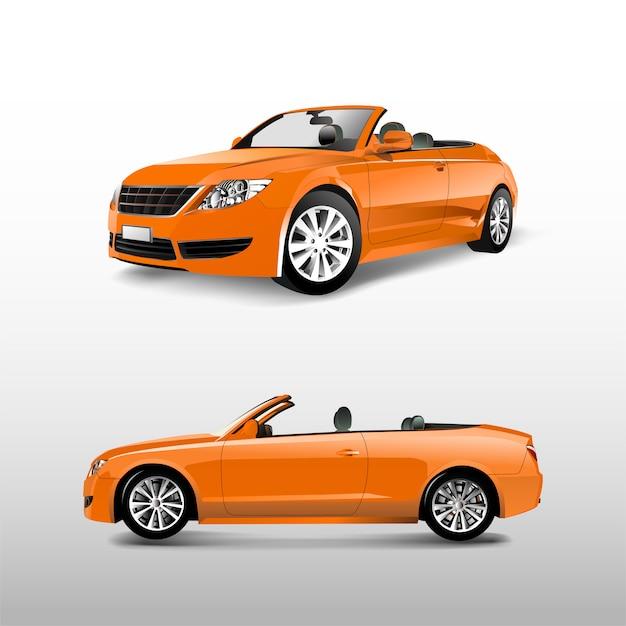 Orange konvertierbares auto getrennt auf weißem vektor Kostenlosen Vektoren