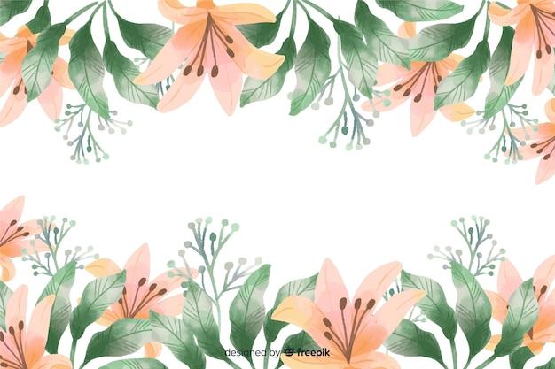 Orange lilie blüht rahmenhintergrund mit aquarelldesign Kostenlosen Vektoren