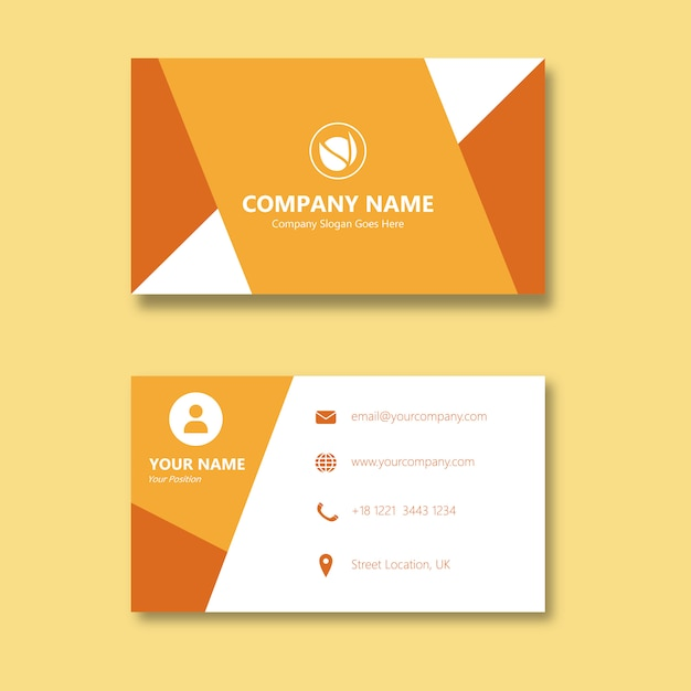 Orange Lustige Handwerks Visitenkarte Premium Vektor