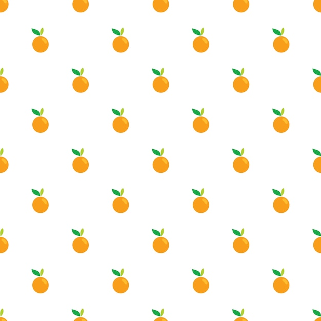 Orange obst nahtlose muster auf weißem hintergrund Premium Vektoren