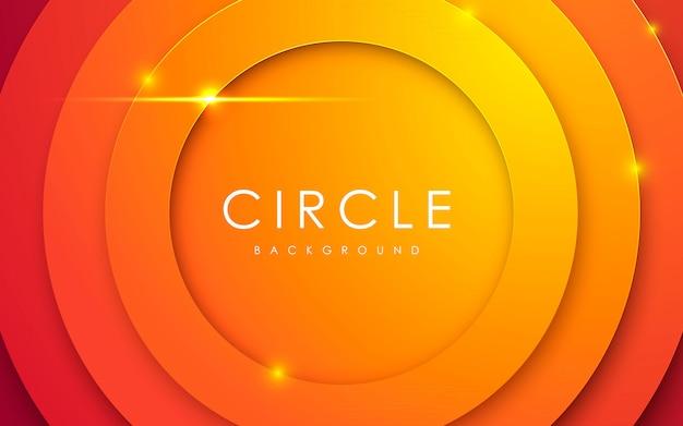Orange papercut hintergrund des abstrakten kreises 3d Premium Vektoren