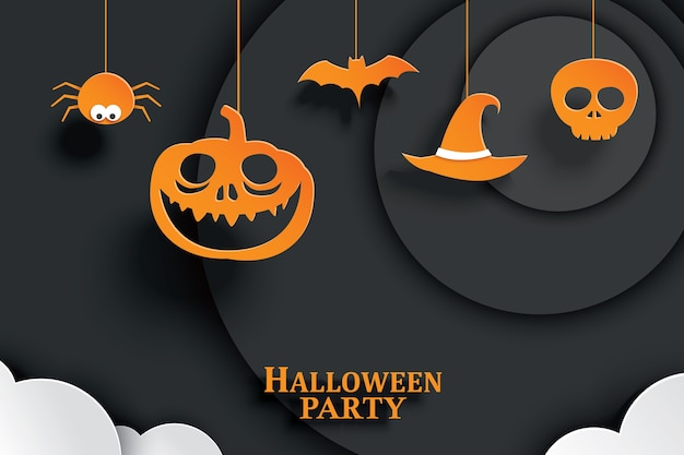 Orange papier halloweens, das im dunklen hintergrund hängt Premium Vektoren