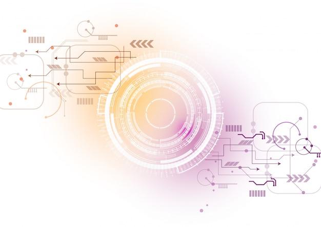 Orange purpurroter technologie-stromkreis-hintergrund Premium Vektoren