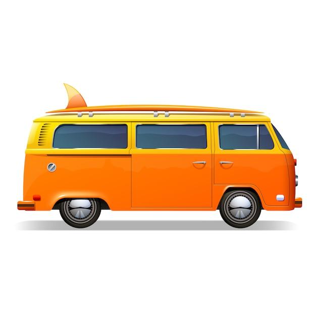Orange retro-bus mit surfbrettern Kostenlosen Vektoren