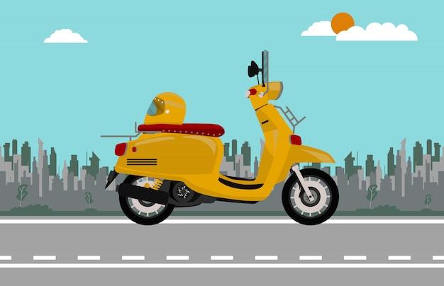 Orange roller fahrrad vintage-stil Premium Vektoren