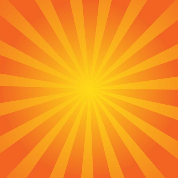 Orange sommer-zusammenfassungs-komischer karikatur-sonnenlicht-hintergrund. Premium Vektoren