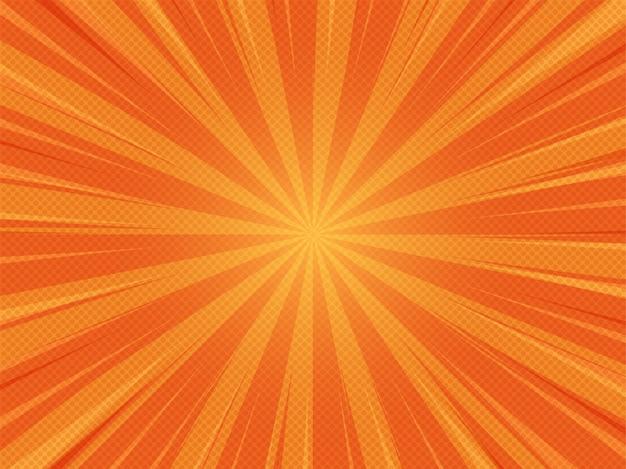 Orange sommer-zusammenfassungs-komischer karikatur-sonnenlicht-hintergrund Premium Vektoren