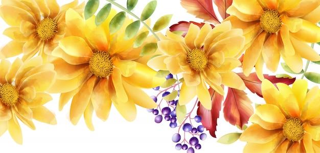 Orange sonnenblume des aquarells mit blättern und beeren Premium Vektoren