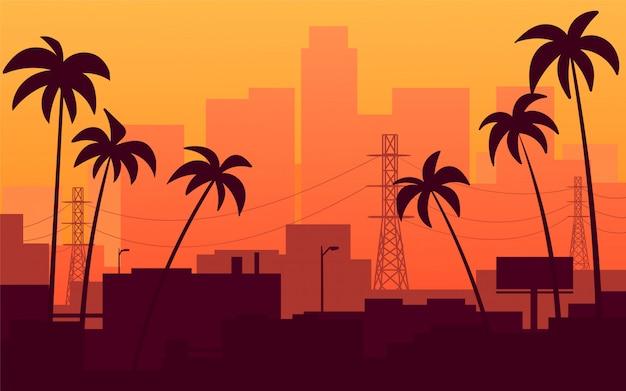 Orange sonnenuntergang in kalifornien, ansicht der stadt mit palmen. Premium Vektoren