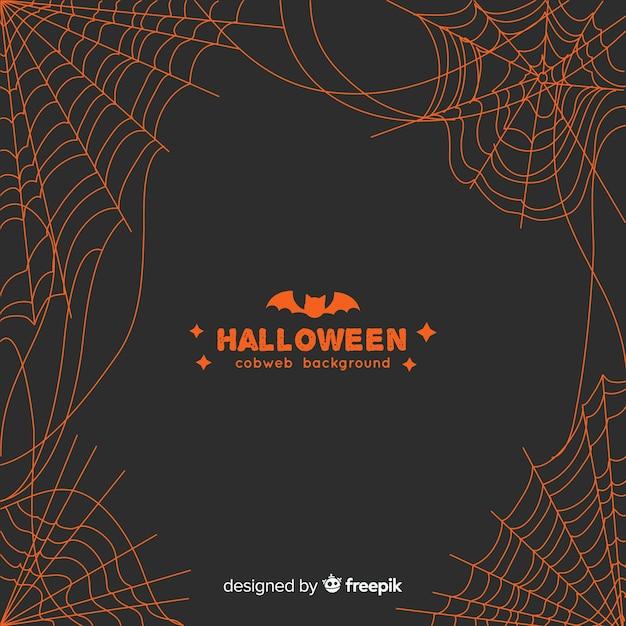 Orange spinnennetzhintergrund halloweens Kostenlosen Vektoren