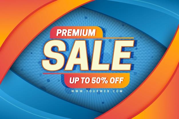 Orange und blauer premiumverkaufshintergrund Kostenlosen Vektoren
