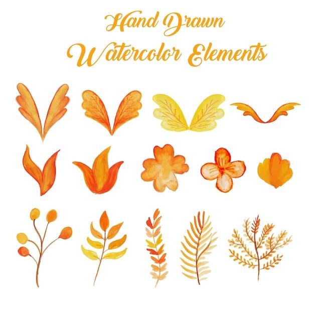 Orange und gelb hand gezeichnet aquarell elemente sammlung Kostenlosen Vektoren