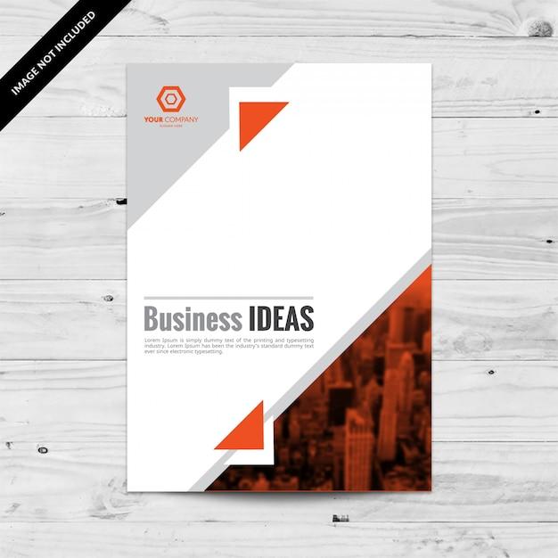 Orange und grau cityview unternehmens flyer design-vorlage mit dreiecken Kostenlosen Vektoren