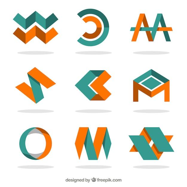 Orange Und Grün Logos Im Abstrakten Stil
