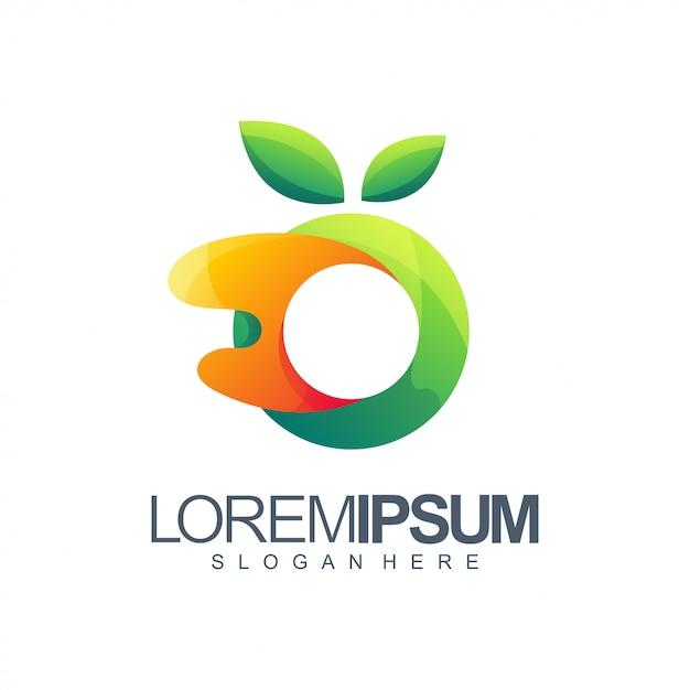 Orange und grünes logo Premium Vektoren