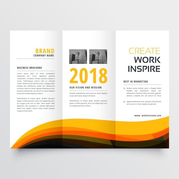 Orange und schwarz gewellt Trifold Business Broschüre Flyer Konzept ...
